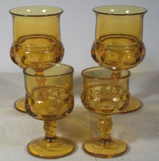 Glass Kings Crown Thumbprint Amber Drinking Glasses Goblets