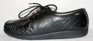 Womens SAS Bounce Black Leather Walking Shoes Loafers Oxfords 11 M