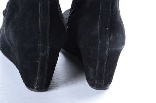 Nine West Black 9 5 Suede Amelie Wedge Gathered Knee High Boot Shoe