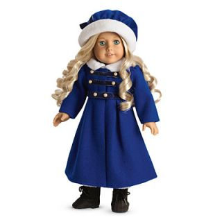 American Girl Carolines Winter Coat Cap for Dolls Hat Wool Blue New