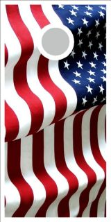 American Flag Cornhole Game Digital Printed Vinyl Decal Set