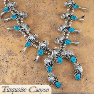 Navajo Native American Dead Pawn Turquoise Squash Blossom Necklace SKU
