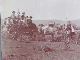 1900 Strange Men on Wagon Wearing Masks Out West Cabinet Photograph