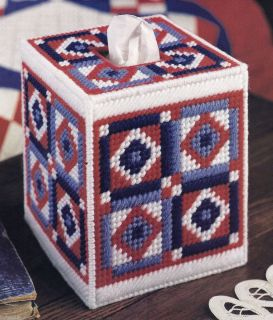 AMERICAN QUILT TISSUE BOX COVER  PATTERN ONLY*PLASTIC CANVAS PATTERN