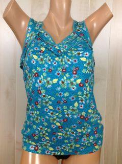 American Rag Pagoda Blue Floral Print Tank Top Shirt Sz Size L XL New