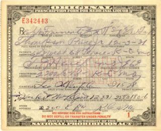 1931 Original Prohibition Whiskey Prescription Alcohol Label Bootleg