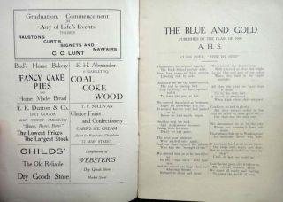 1909 Antique Amesbury MA High Blue Gold Graduation ★