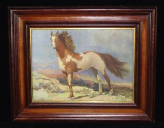 Antique Art Deco Robert Wesley Amick American Western Horse Lithograph
