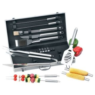 Grill Utensils 19pc Stainless Steel Barbeque Tool Set Aluminum