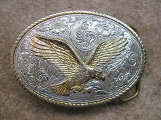Eagle Silver and Gold Colored Metal Belt Buckle Aminco