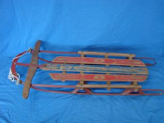 Vintage Royal Racer Winter Snow Sled Metal Runners w Wood Stearable