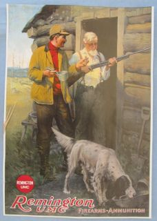 Remington UMC Rifle Arms Ammunition Poster Hunting Cabin Lodge Vintage