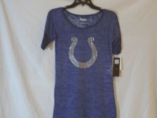 Indianapolis Colts Alyssa Milano Ladies Rhinestone Burnout Shirt Small