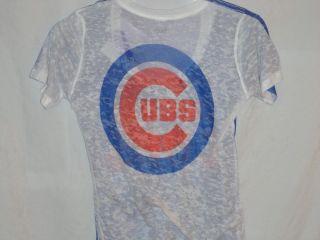 Chicago Cubs Alyssa Milano Burnout Shirt Touch Series Adult Medium