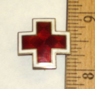 Vintage C 1940s American Red Cross Pin Sterling Cap Pin Sil BDR