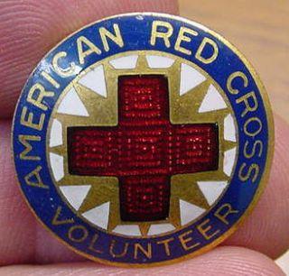 Vintage American Red Cross Volunteer Enameled Pin Nice