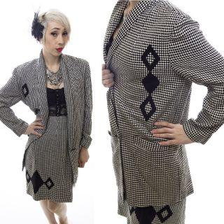 Vtg 80s Black White Diamond Check Suit Blazer Skirt Rayon Secretary