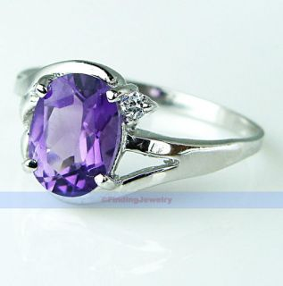 Fancy 1 2ct Oval Purple Amethyst Silver Ring Size 6 1 4 Great Gift
