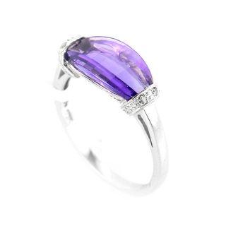 10K White Gold Amethyst Diamond Ring