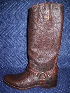 Frye Womens Maxine Trapunto Harness Boot Dark Brown New