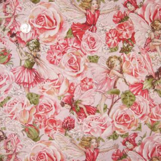 Michael Miller Flower Fairies Sweet Garden Fairy Rose Pink Yardage