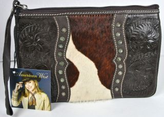 American West Womens Brown Leather Travel Case Wristlet Handbag $89