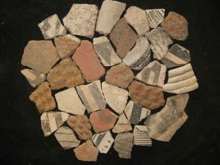 35 Arizona Anasazi Pottery Shards, Ancient Indian Artifact, Native