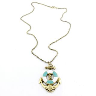 Vintage Beautiful Bright Gold Tone Anchor Pendant Necklace