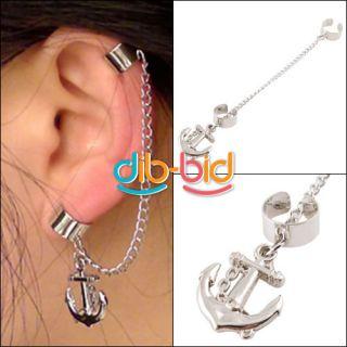 1pc Hot Gothic Punk Rock Chain Anchor Ear Cuff Wrap Clip Earring Non