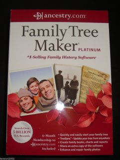 Ancestry com Family Tree Maker Platinum 2012 New SEALED