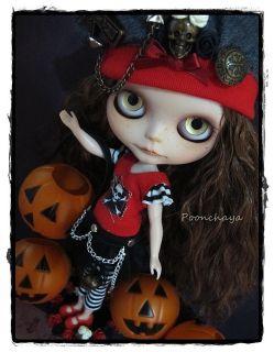 Amelie Merry Halloween OOAK Custom Blythe by Poonchaya