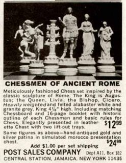 Cool 1964 Ad for Chessmen of Ancient Rome Chess Sets