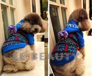 Fireworks Blue Warm Dog Pet Clothes Apparel Jumpsuit Hoodie Coat s M L
