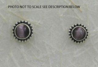 Sterling Silver 6mm Purple Cats Eye Post Earrings New