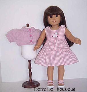 PINK SWEATER PLAID DRESS SET DOLL CLOTHES FITS AMERICAN GIRL