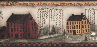 Wallpaper Border American Folk Art Houses Countryside