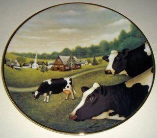 Lowell Herrero American Folk Art Grazing in The Grass Farm Cows Plate