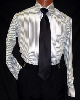 Andrew Fezza White Black Stripe Tuxedo Shirt XL 32 33
