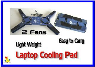 Lap Top Cooling Pad 2 Fan Portable x 1 Light Weight USB Powered Free