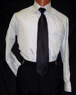 andrew fezza white black stripe shirt medium 32 33