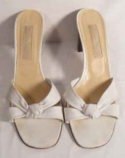 Michael Kors White Mule Sandals Twisted Bow Front 9M