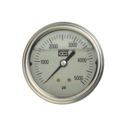 5000 PSI Liquid Filled Pressure Gage 1 4NPT Rear Mount 2 1 2  Face