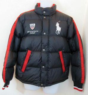 Men Polo Ralph Lauren Big Pony USA Flag Puffer Quilted Ski Coat Down