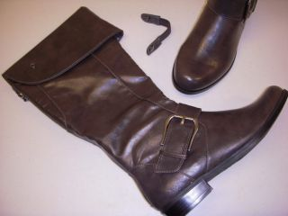 Andrew Geller Clever Riding Boots w Back Zip Cuff 8 M Medium Grey New