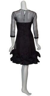 Angel Sanchez Black Beaded Ruffle Silk Eve Dress 16 New