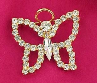 Elegant Crystal Rhinestone Angel Butterfly Pin Brooch