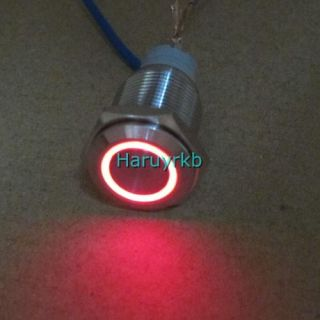 Angel Eye red Led 16mm 12V stainless Steel Switch Latching Push Button