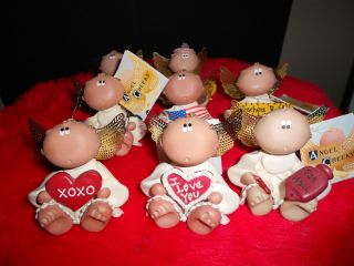 Group of 8 Angel Cheeks Figurines Valentines Day Birthday Holidays Etc