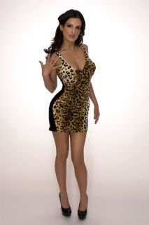Sexy Pin Up Leopard Wiggle Dress Minidress Mini Pinup Rockabilly Faux
