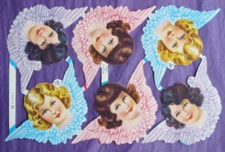 New Victorian Paper Scrap 6 Beautiful Angels Cherubs Die Cut Christmas